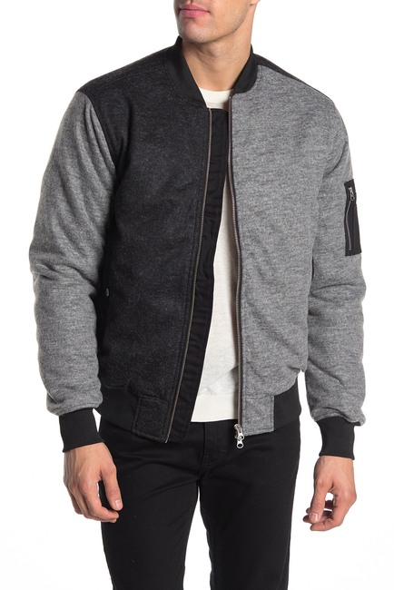 Randall Mens Black And Grey Color Block Bomber Jacket
