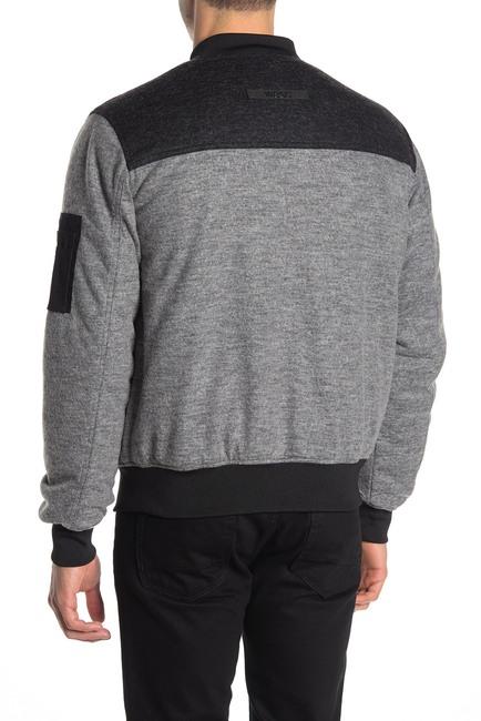 Mens Black And Grey Color Block Bomber Jacket