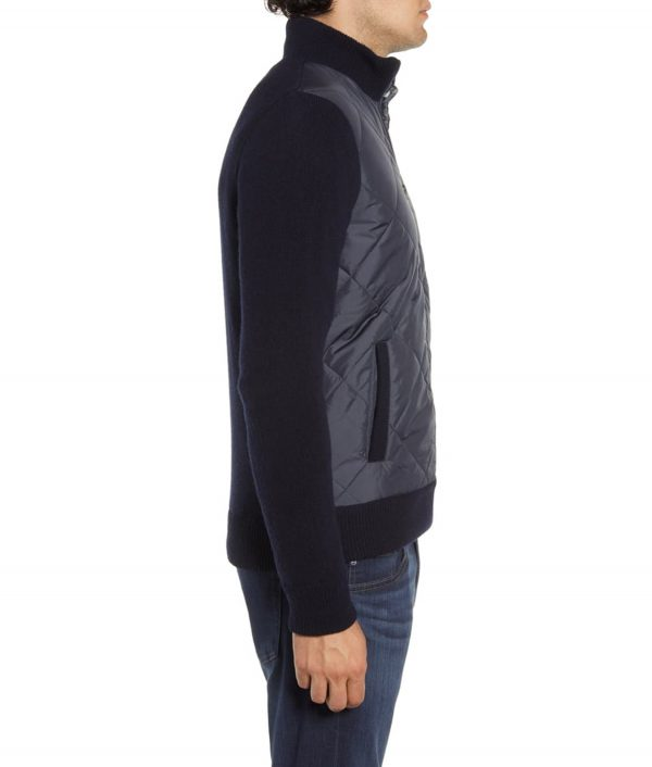 Ricky Mens Navy Blue Quilted Bomber Jacket