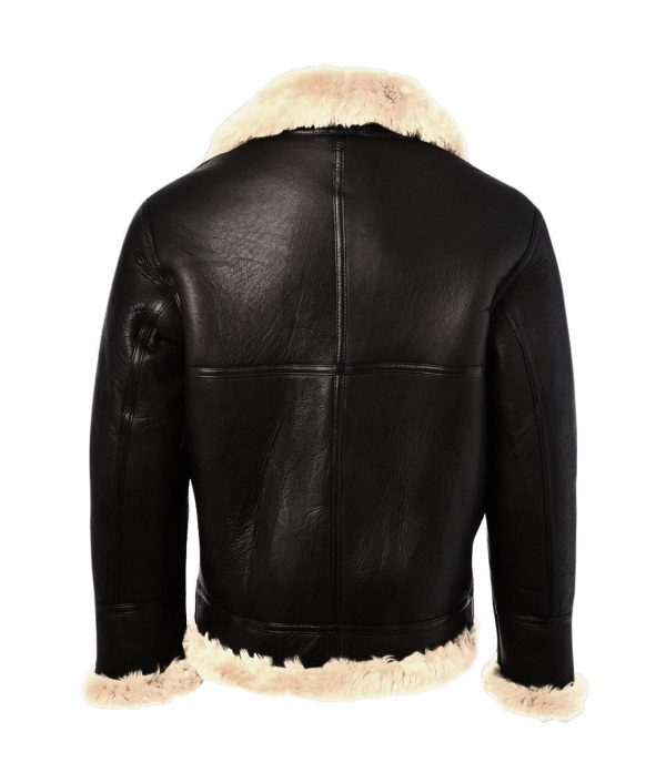Roger Mens Black Aviator Leather Jacket