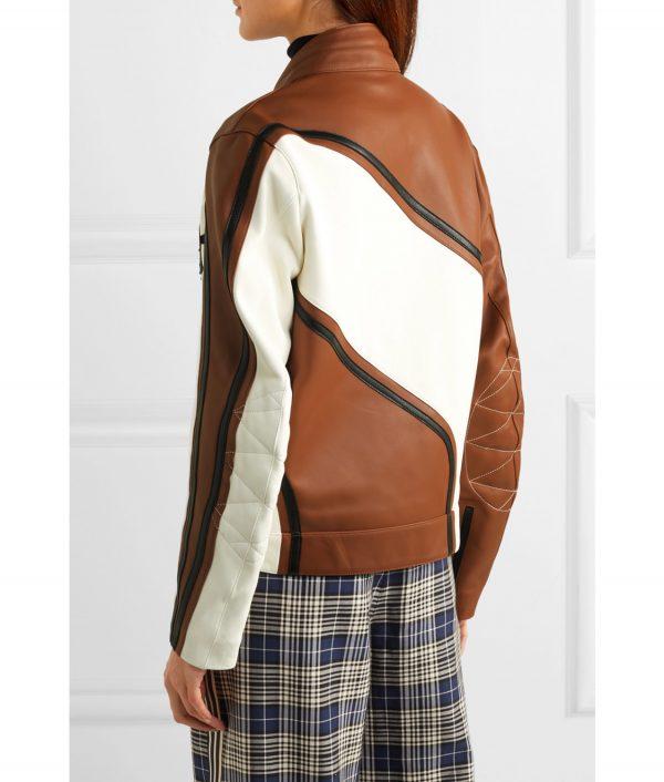 Ellen Women's Brown Leather Biker Jacket