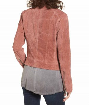Alicia Womens Lapel Collar Suede Leather Biker Jacket