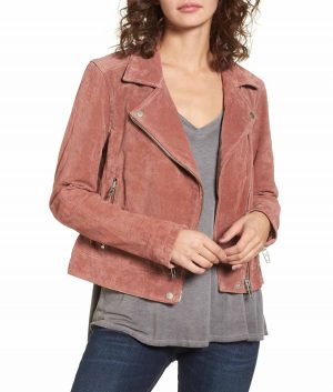 Alicia Womens Lapel Collar Suede Leather Jacket