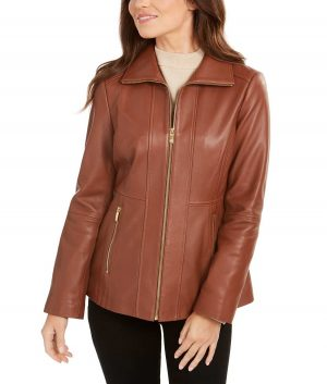 Annette Womens Stand Collar Zipper Closure Brown Jacket