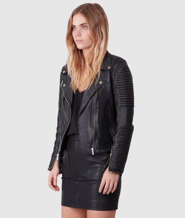 Cheryl Womens Shoulder Padded Biker Jacket
