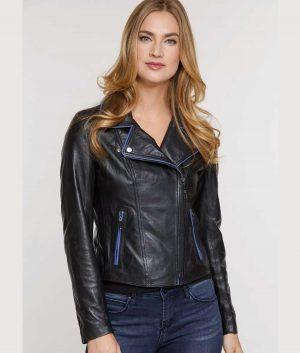 Corinne Womens Italian Lambskin Moto Jacket