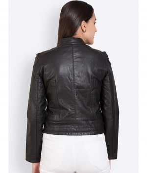 Dawn Womens Slimfit Style Black Leather Jacket