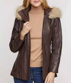 Deborah Womens Lambskin Leather Coat with Detachable Hood