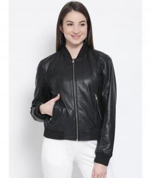 Denise Womens Black Bomber Jacket