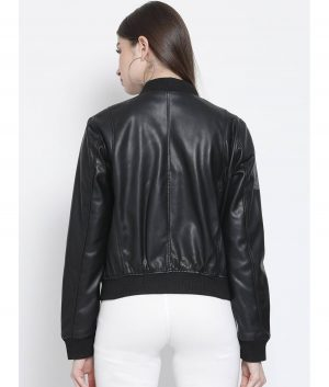 Denise Womens Black Bomber Leather Jacket