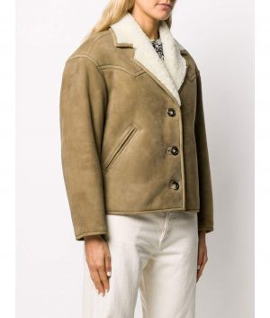 Donna Womens Shearling Leather Jacket