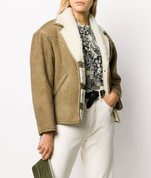 Donna Womens Lapel Collar Beige Color Shearling Jacket