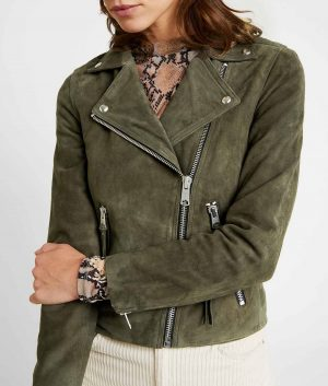 Dora Womens Lapel Collar Emerald Green Biker Jacket