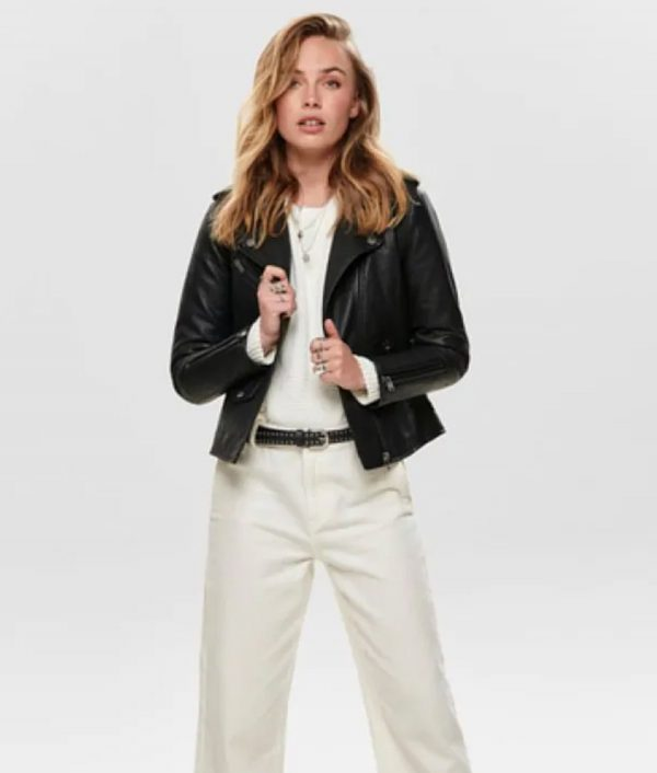 Eddie Womens Casual Black Slimfit Leather Jacket