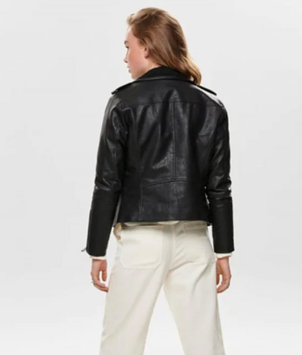 Eddie Womens Casual Black Leather Jacket