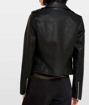 Edna Womens Black Lapel Collar Biker Jacket