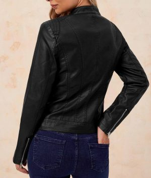 Eleanor Womens Black Leather Cafe Racer Jacket