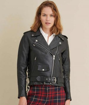 Zip Notch Collar Moto Jacket