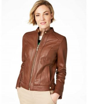 Erin Womens Brown Cafe Racer Leather Jacket