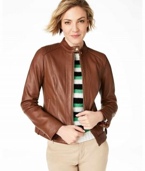 Erin Womens Brown Leather Jacket