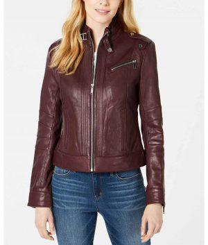 Florence Womens Stand Collar Cafe Racer Jacket