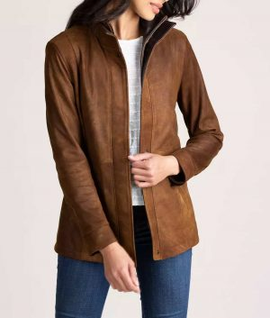 Frances Womens Double Collar Distressed Leather Jacket