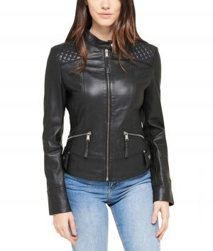 Geneva Womens Quilted Shoulder Black Jacket