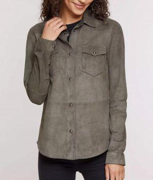 Gertrude Womens Shirt Style Lambskin Suede Jacket