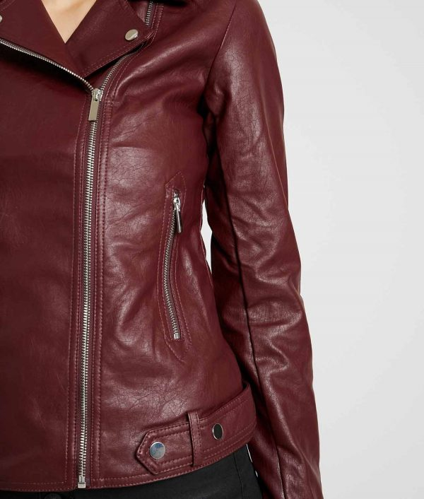 Gloria Womens Lapel Collar Biker Jacket