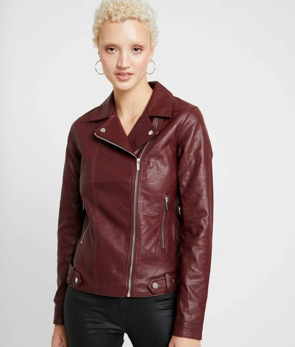 Gloria Womens Lapel Collar Faux leather Jacket