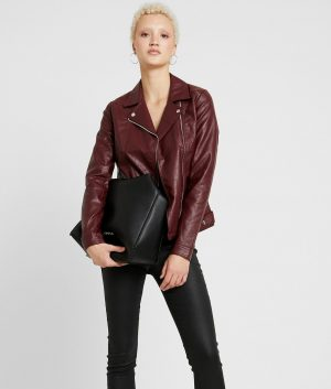 Gloria Womens Lapel Collar Faux leather Biker Jacket