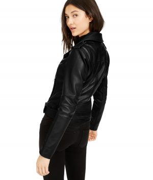 Grace Womens Lapel Collar Belted Black leather Jacket