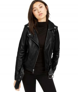Grace Womens Lapel Collar Belted Black Biker Jacket