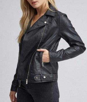 Janet Womens Black Biker Jacket