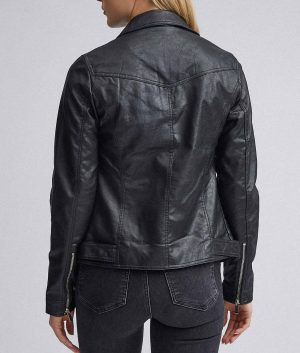 Janet Womens Slimfit Style Black Biker Jacket