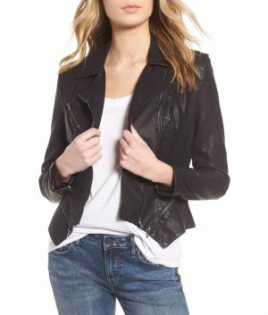 Jeannine Womens Front zip closure Moto Jacket