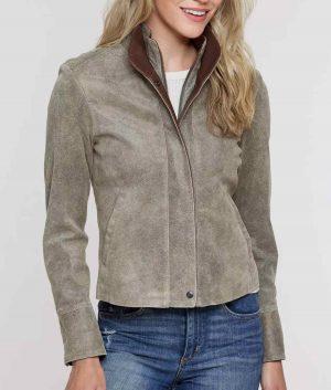Jennifer Womens Distressed Leather Jacket