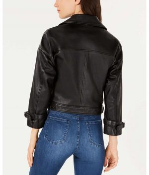 Jessie Womens Lapel Collar Cropped Sleeve Moto Leather Jacket