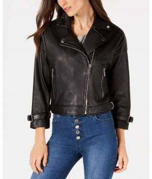 Jessie Womens Lapel Collar Cropped Sleeve Moto Jacket