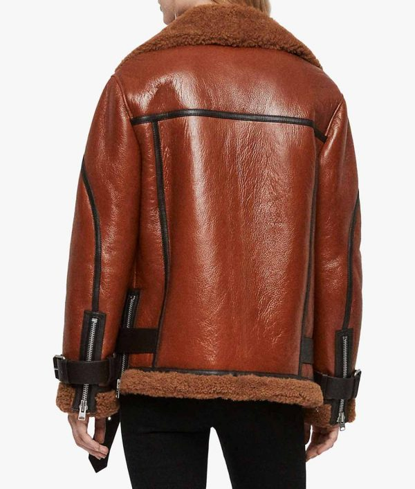 Joanne Womens Rust Brown Shearling Jacket