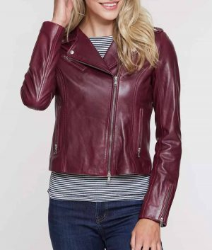 Josephine Lapel Collar Lambskin Leather Womens Moto Jacket