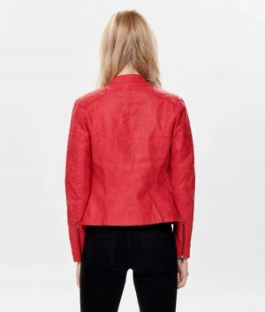 Juana Womens Stand up Collar Red Leather Jacket