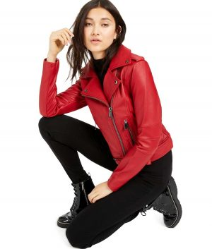 Judy G Womens Notch Collar Red Biker Jacket
