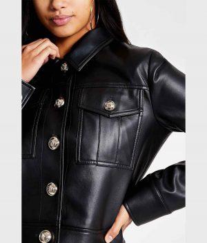 Judy Womens Turn Down Collar Black Jacket
