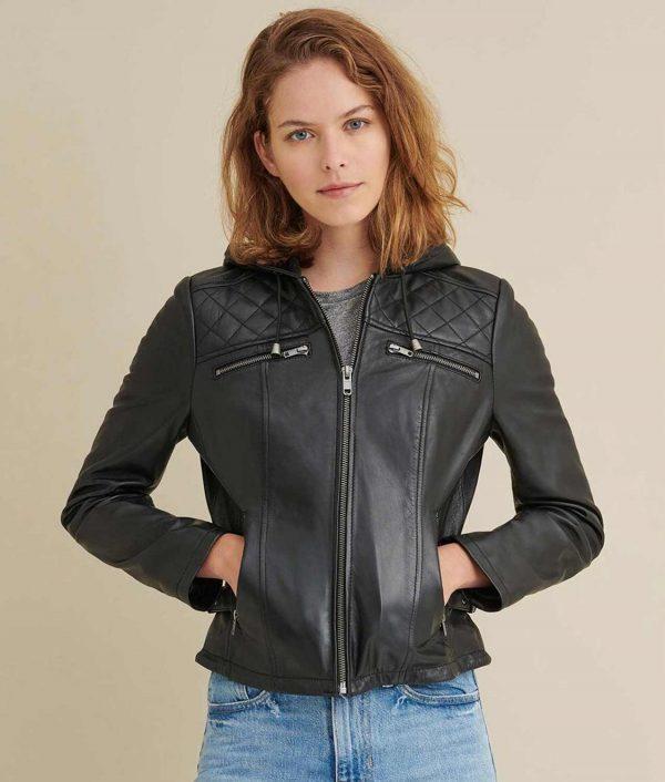 Kathleen Womens Black Leather Biker Jacket With Hood