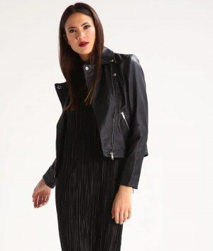 Kathleen Womens Lapel collar Black Leather Jacket