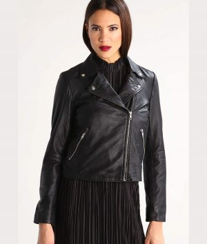 Kathleen Womens Black Leather Jacket
