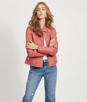 Kimberly Womens Faux leather Cafe Racer Jacket