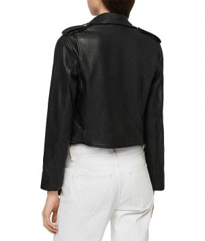 Kristy Womens Belted Style Black Biker Leather Jacket