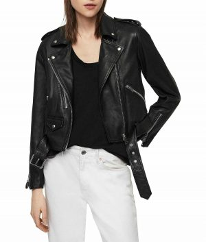 Kristy Womens Belted Style Black Leathe
